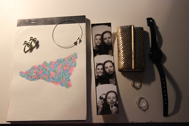 Palm Tree Earrings,  Ink Sketching, Silver Bracelet. Photo booth Prints, Vintage Key Purse, Karen Walker Rings, Casio Watch